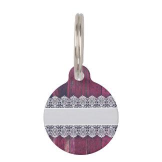 Madera púrpura rústica con el cordón - estilo eleg identificador para mascotas
