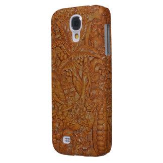 Madera rara de Bali que talla arte único Funda Para Galaxy S4