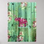 Madera rayada verde de Sakura del rosa del elefant Posters