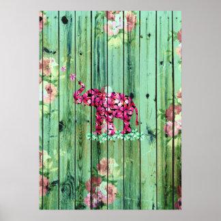 Madera rayada verde de Sakura del rosa del Póster