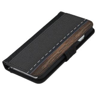 Madera realista y textura de cuero cosida carcasa de iPhone 6