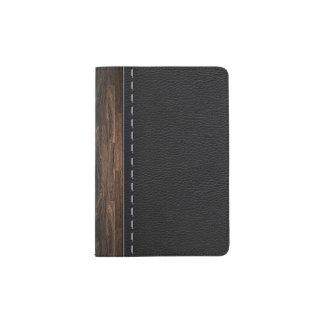 Madera realista y textura de cuero cosida porta pasaporte