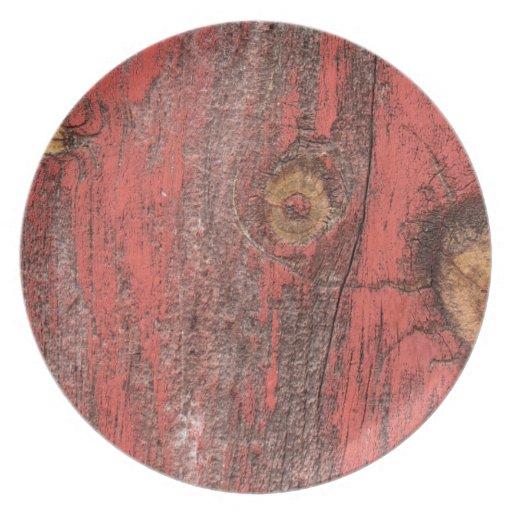 Madera roja gastada plato de cena
