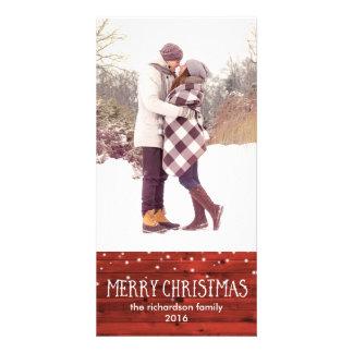 Madera roja rústica en Felices Navidad de la nieve Tarjetas Personales Con Fotos