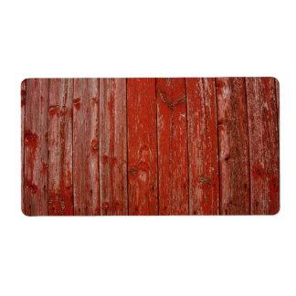 Madera roja vieja etiqueta de envío