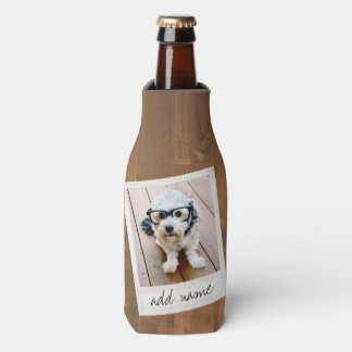 Madera rústica con el marco cuadrado de la foto enfriador de botellas