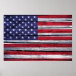 Madera rústica de la bandera americana impresiones