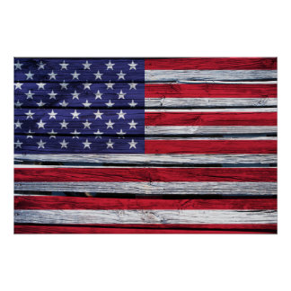 Madera rústica de la bandera americana póster