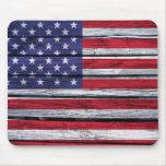 Madera rústica de la bandera americana tapetes de ratón