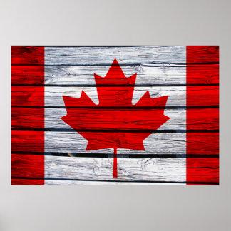 Madera rústica de la bandera canadiense posters