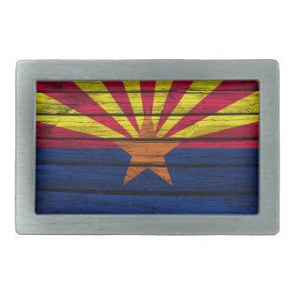 Madera rústica de la bandera de Arizona Hebilla De Cinturon Rectangular