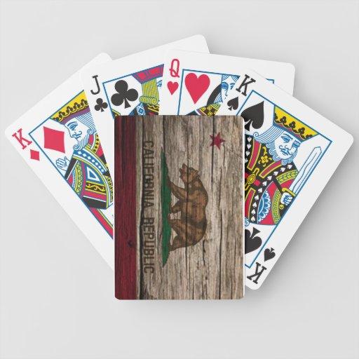 Madera rústica de la bandera de California Baraja Cartas De Poker
