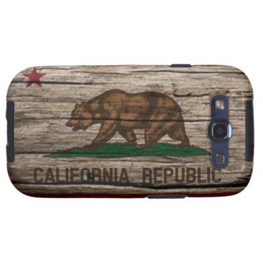 Madera rústica de la bandera de California Galaxy SIII Protectores