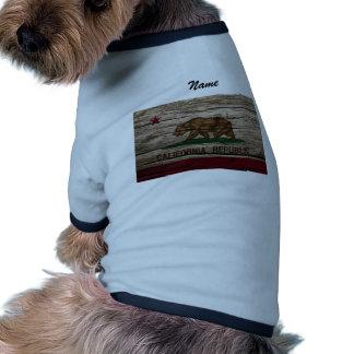 Madera rústica de la bandera de California Camisetas De Mascota
