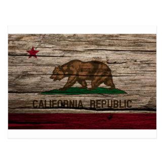 Madera rústica de la bandera de California Tarjetas Postales