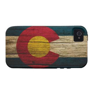 Madera rústica de la bandera de Colorado iPhone 4 Fundas