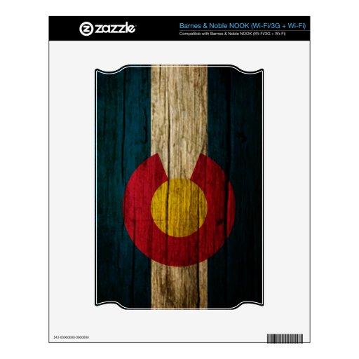 Madera rústica de la bandera de Colorado Calcomanías Para NOOK