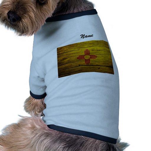 Madera rústica de la bandera de New México Camiseta Con Mangas Para Perro