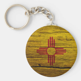 Madera rústica de la bandera de New México Llavero Personalizado