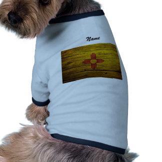 Madera rústica de la bandera de New México Camiseta De Perrito