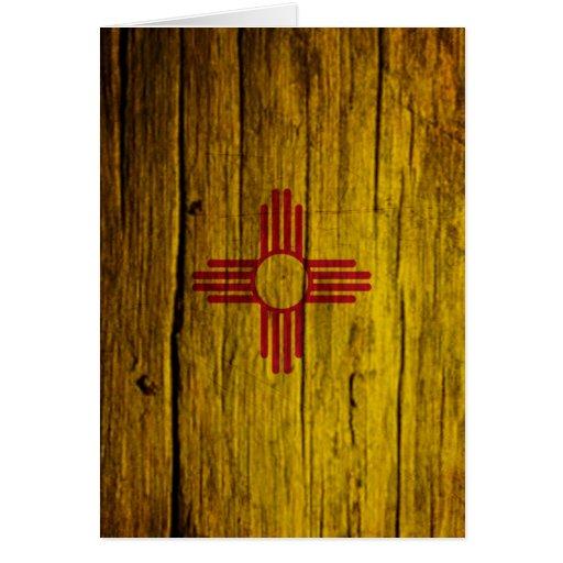 Madera rústica de la bandera de New México Tarjeta De Felicitación