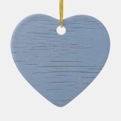 Madera rústica de la playa (azul) adorno de cerámica en forma de corazón