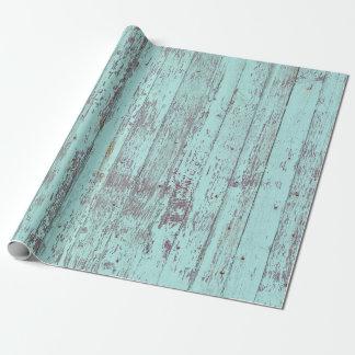 Madera rústica del granero de la aguamarina papel de regalo