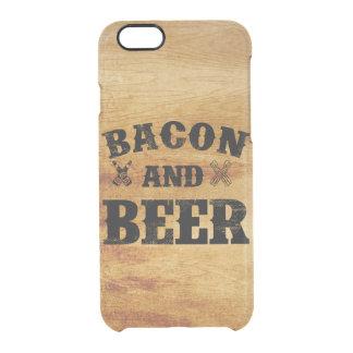 Madera rústica del tocino y de la cerveza funda clear para iPhone 6/6S