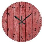 Madera rústica roja elegante reloj de pared