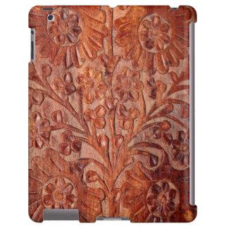 Madera tallada mano del vintage funda para iPad