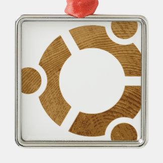 Madera Ubuntu Logotipo - Linus Adorno Navideño Cuadrado De Metal