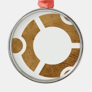 Madera Ubuntu Logotipo - Linus Adorno Navideño Redondo De Metal