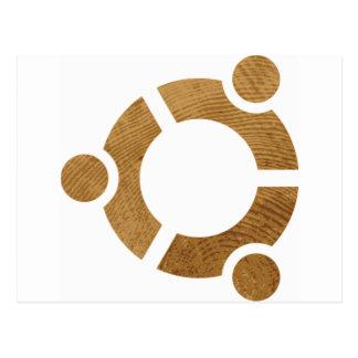 Madera Ubuntu Logotipo - Linus Tarjeta Postal