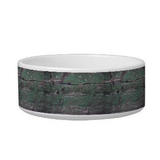 Madera verde rústica tazón para comida gato