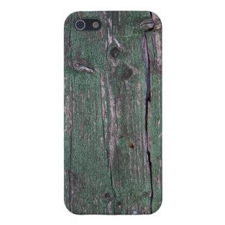 Madera verde rústica iPhone 5 fundas