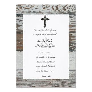 Madera vieja, boda rústico de la cruz del hierro invitación 12,7 x 17,8 cm