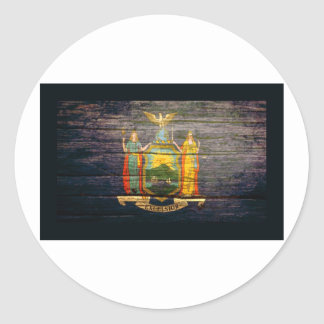 Madera vieja de la bandera de Nueva York Pegatina Redonda
