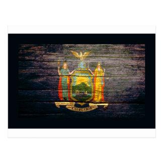 Madera vieja de la bandera de Nueva York Tarjeta Postal