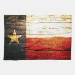 Madera vieja de la bandera de Tejas Toallas De Mano