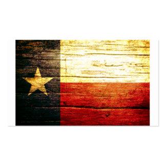 Madera vieja de la bandera de Tejas Tarjeta De Visita