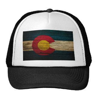 Madera vieja rústica de la bandera de Colorado Gorros Bordados