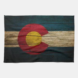 Madera vieja rústica de la bandera de Colorado Toallas De Cocina