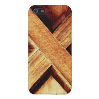 Madera X en puerta de madera de la vertiente vieja iPhone 5 Carcasa