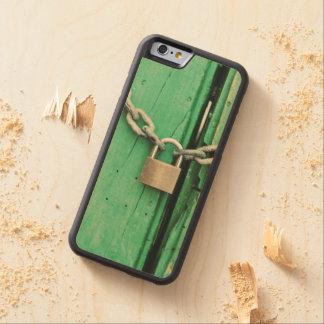 Madera y candado rústicos funda de iPhone 6 bumper arce