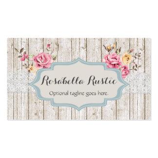 Madera y cordón elegantes lamentables - Rosabella Tarjetas De Visita