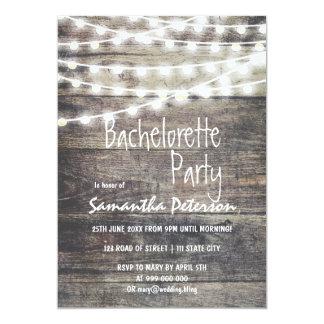 """Madera y fiesta rústicos del bachelorette de las invitación 5"""" x 7"""""""