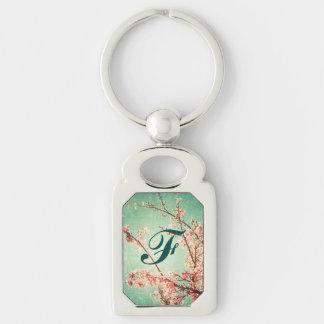 Madera y flor de cerezo llevadas elegantes del llavero plateado rectangular
