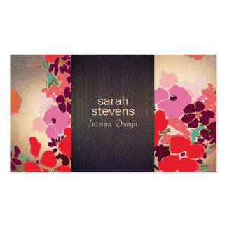 Madera y oro florales coloridos del interiorista tarjetas de visita