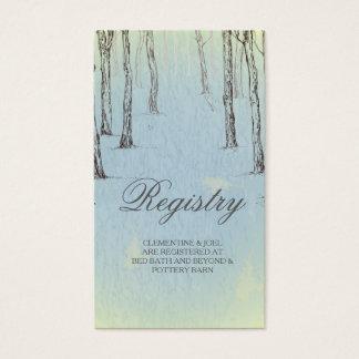 Maderas azules del invierno que casan el registro tarjetas de visita