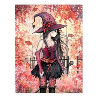 Maderas de la postal de la bruja del otoño